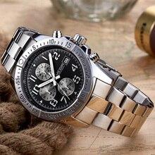 MEGIR למעלה יוקרה מותג גברים של שעון יד Mens הכרונוגרף שעונים גברים זכר קוורץ שעונים צבאי ספורט נירוסטה שעון