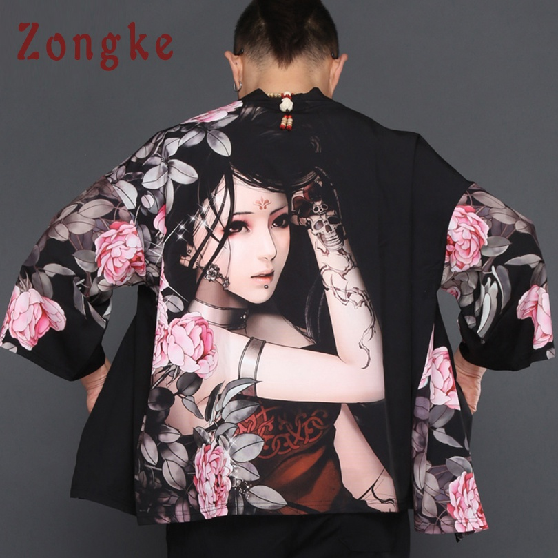 Zongke Chinese Beauty Kimono Cardigan Men Long Kimono Cardigan Men Summer Loose Men Kimono Robe Thin Jacket Coat 2018