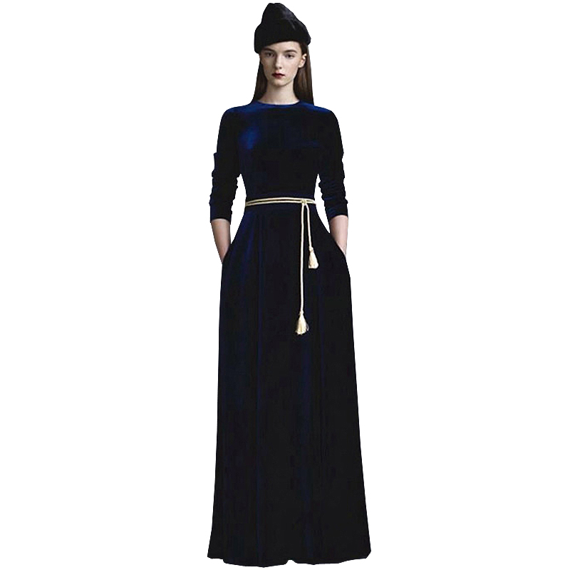 S 4Xl High Quality 2018 Summer And Autumn Runway Show New Fashion Bright Color Printing Slim Comfortable Fabric Women Long Dress