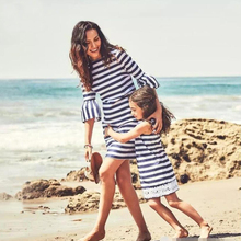Mother kids Mom and daughter dress striped mother