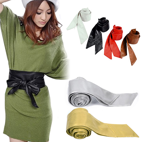 Arrival Women's Faux Leather Bowknot  Corset Tie Cinch Cummerbunds Christmas Gift  6YR4