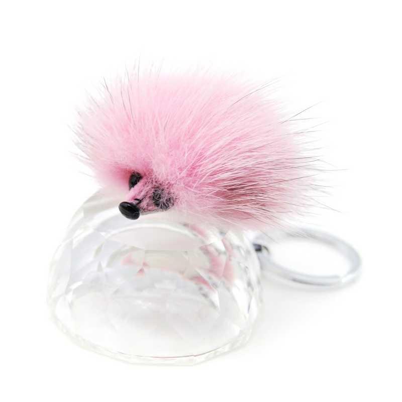 Оригинальный новый милый пушистый помпон брелок для ключей Ежик для женщин из натуральной норки мех помпон брелок игрушка кукла-сумка Шарм брелок держатель подарок