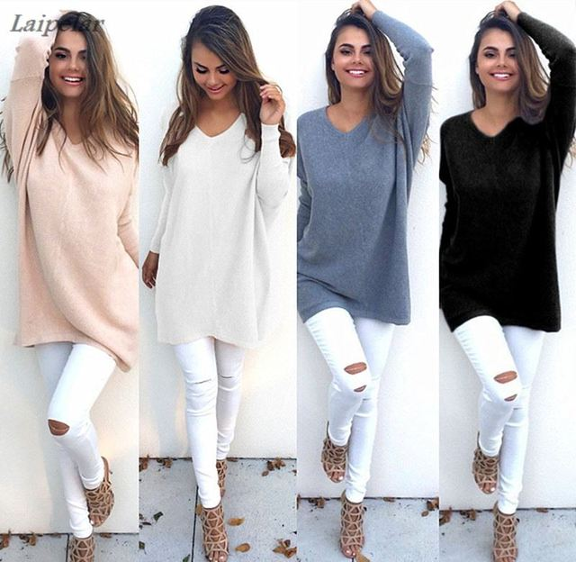 a4ebd0263e1 White Pink Gray Black Blue Autumn Winter Women Knitted Pullover Sweater  Dress Knitwear Shirt Oversized Female