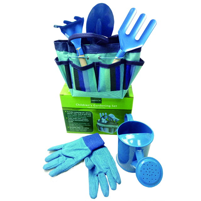 6PC Kids Garden Tools Set Outdoor Toys For Children Sturdy Tote Metal Tools Wooden Handle Sandbox Toy Beach Early Learning Guide