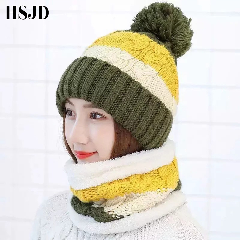 Winter Women's Hat Color matching Knitted Warm Scarf Hat Thick Windproof Balaclava   Skullies     Beanies   Ski Cap Female Hat and Scarf