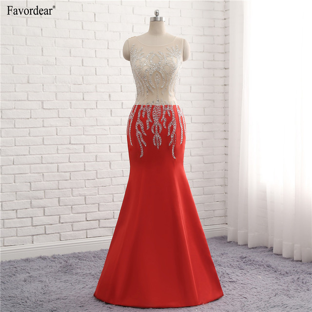 Favordear 2018 New Collection Red Satin Mermaid Evening Dresses ...
