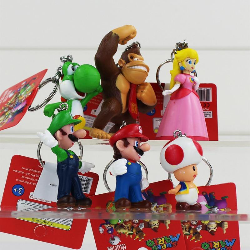 6Pcs/set Super Mario Bros Keychains Mario Luigi Yoshi Toad Princess Peach Keychain Figure Toys Retail 3~7cm 1