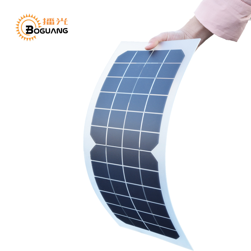 Boguang 12v 10w Transparent semi-flexible silicon Monocrystalline solar panel cell DC module 12vol DIY battery phone adapter kit 50w 12v semi flexible monocrystalline silicon solar panel solar battery power generater for battery rv car boat aircraft tourism