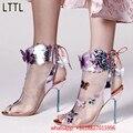 2017 Recién Llegado de la Pista Moda Thin Tacones Altos Mujeres Bombas Mariposa Peep Toe Botas Transparentes Slingbacks Zapatos de Cordones mujer