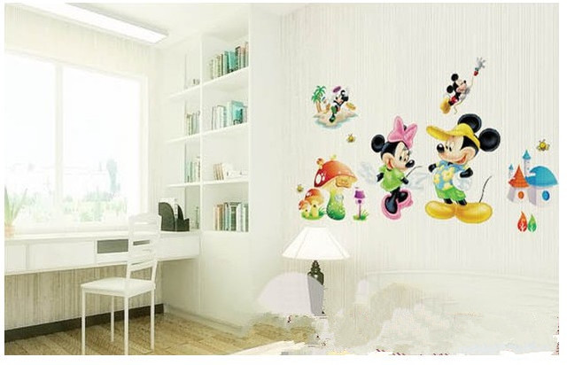 Cartoon Cute Minnie Mickey Anime Decoration Princess Home Wall Stickers Diy Child Bathroom Mirror Poster Mural