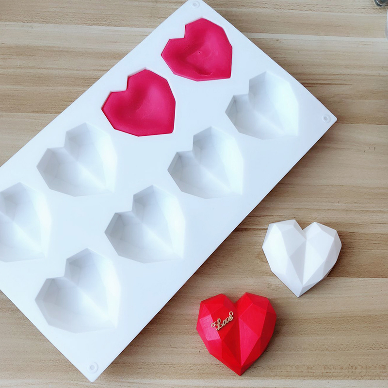 CHUANGGE Diamond Cut Face Hearat Shaped Candle Molds Geometric Aromatherapy Mold For Plaster DIY Candle Making Mould Soap Form