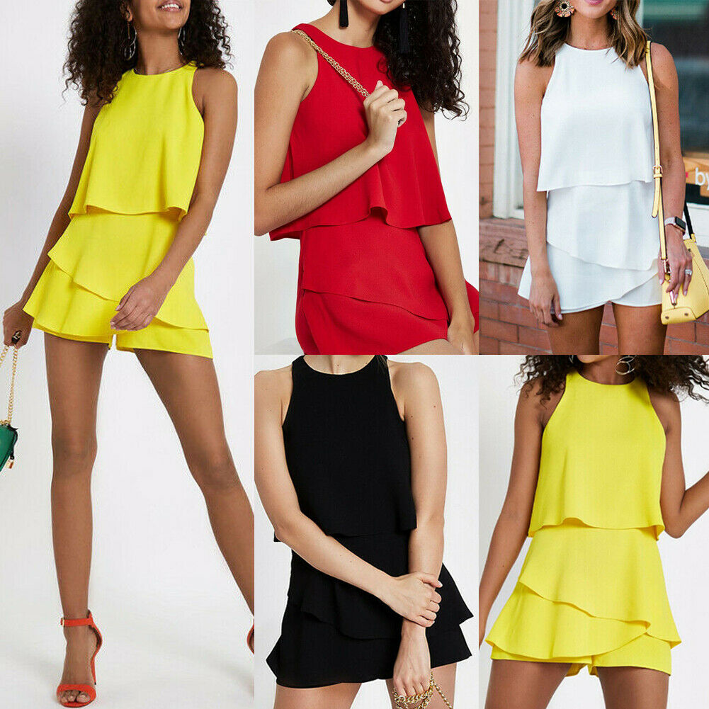 2019 Women Holiday Mini Playsuit  Romper Beach Shorts Sleeveless  Hot