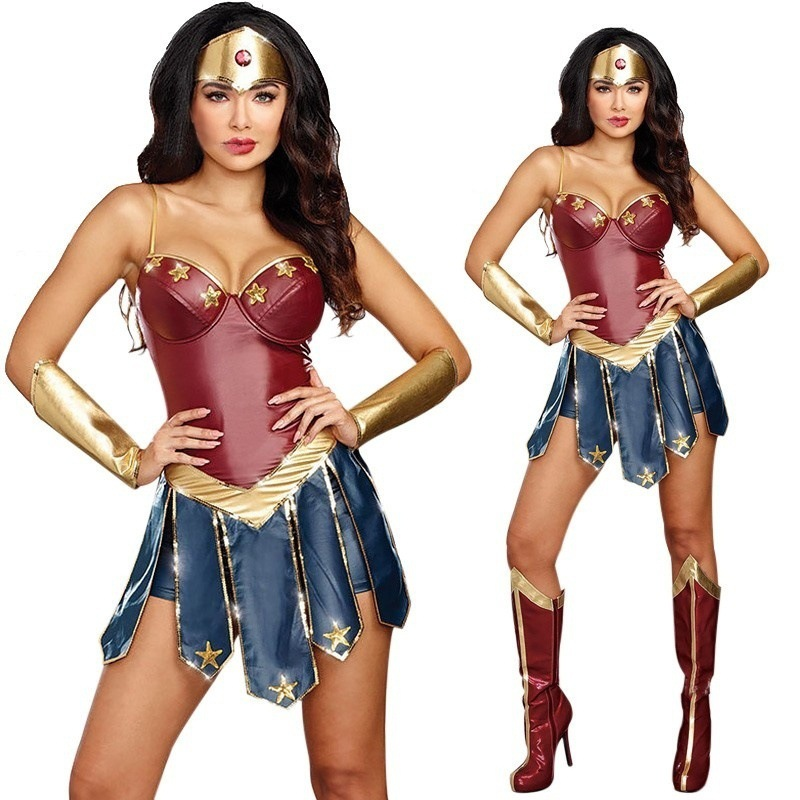 Women Halloween Sexy Wonder Woman Cosplay Costume Dress Headband Armband Superhero Party Costume Clothing Set