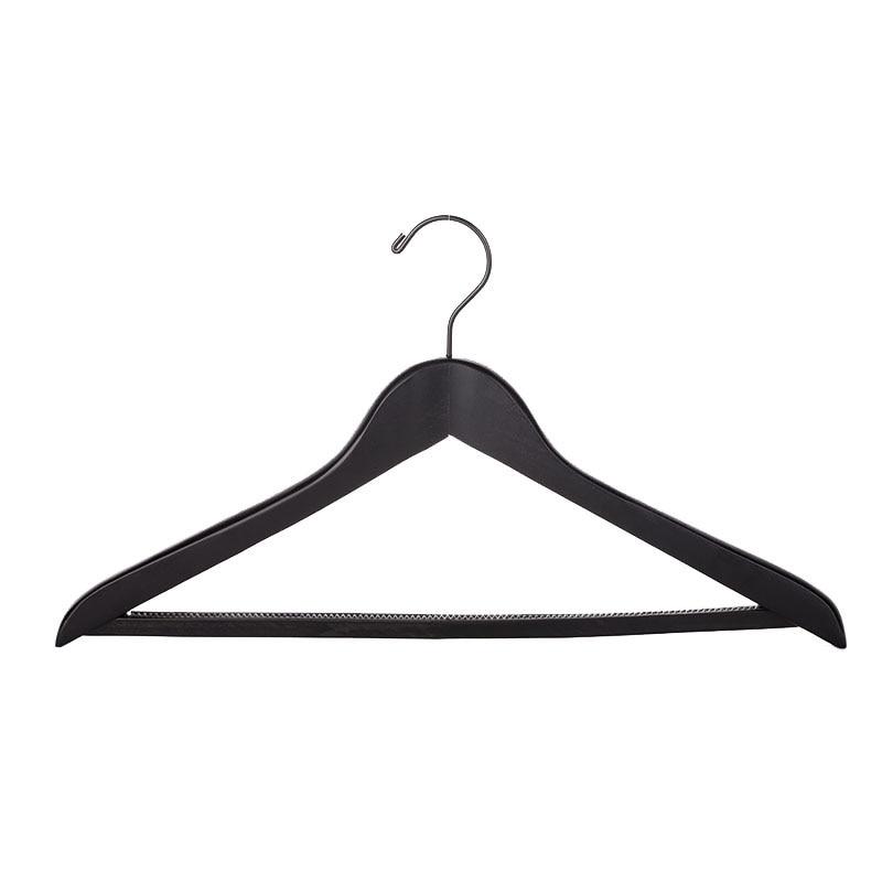 50 ks / Lot, Deluxe tlustá černá Dřevo Kabáty Oblečení Oblečení Věšák s kalhotovým barem, Luxusní oblečení Heavy Duty Hotel Hanger