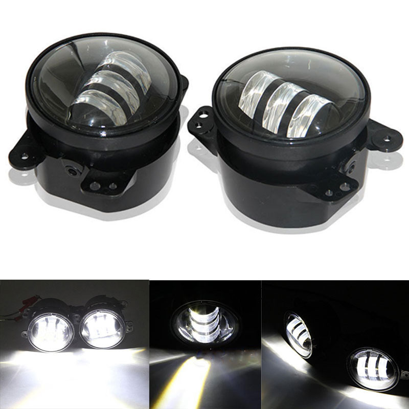 ФОТО 2pcs/Pair 30w cree Chip led 4 inch White Round fog lights lens Projector 4'' Fog Lamp For Offroad Jeep Wrangler Dodge Chrysler