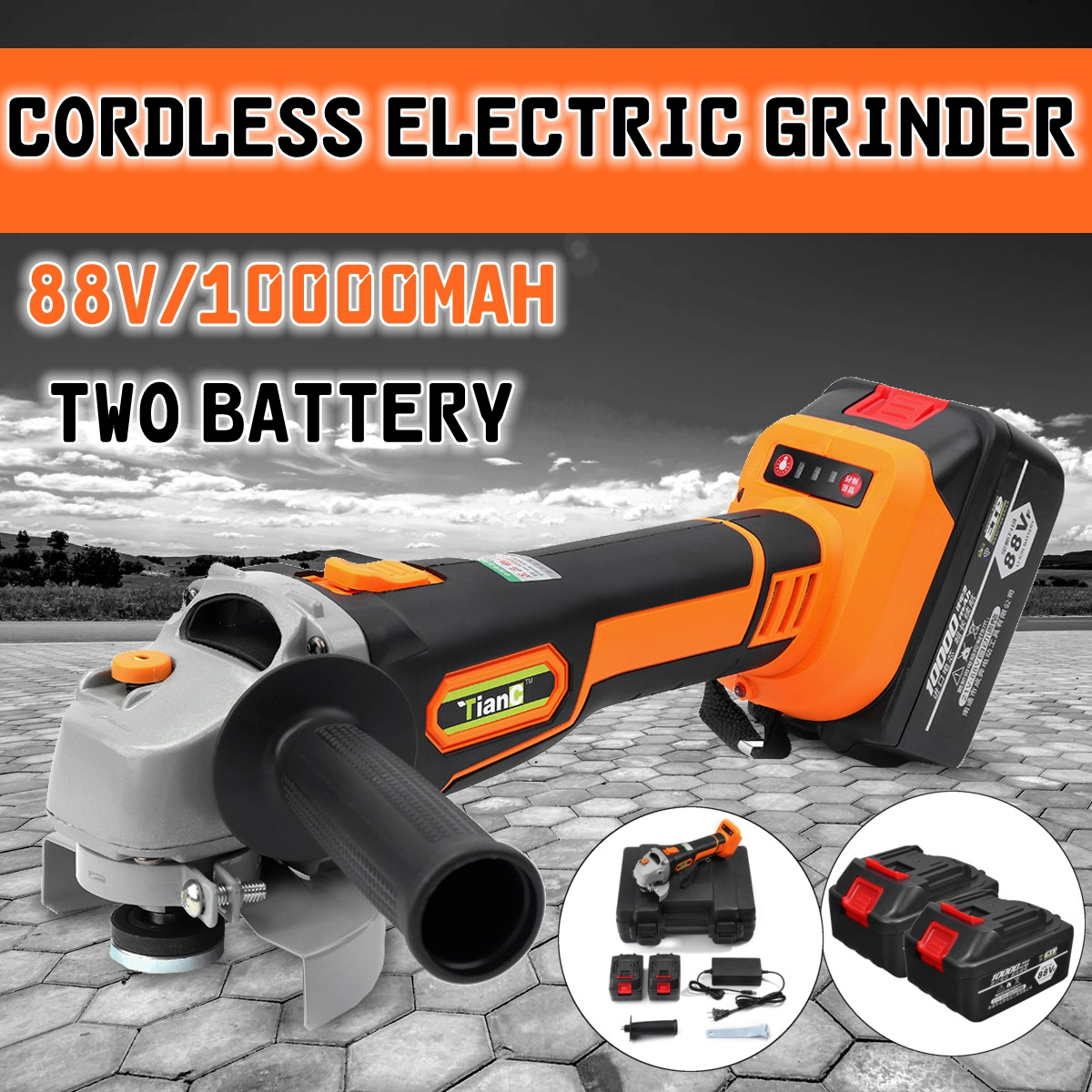 88 В 10000 мАч Электрический угловая шлифовальная машина Беспроводные для шлифовального станка режущий инструмент с 2 батареи для измельчения ...