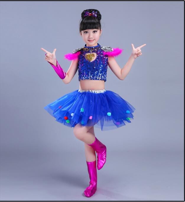 Детская одежда с блестками для бальных танцев, джаз, хип-хоп, сценическая одежда, костюмы для выступлений, одежда, топ, рубашка, шорты, сценическая одежда для мальчиков и девочек, танцевальные костюмы - Цвет: Коричневый