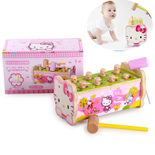 Hello kitty Classic toys sound maker Wooden toys Whac-A-Mole game Bear Mole Hamster Attack Poke A Mole Kids Noise make Game Toy