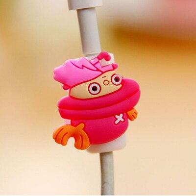Универсальный мультяшный кабель Защитная крышка силиконовый мультфильм рисунок кабель моталки данных провода Органайзер для наушников компьютера - Цвет: SILVER