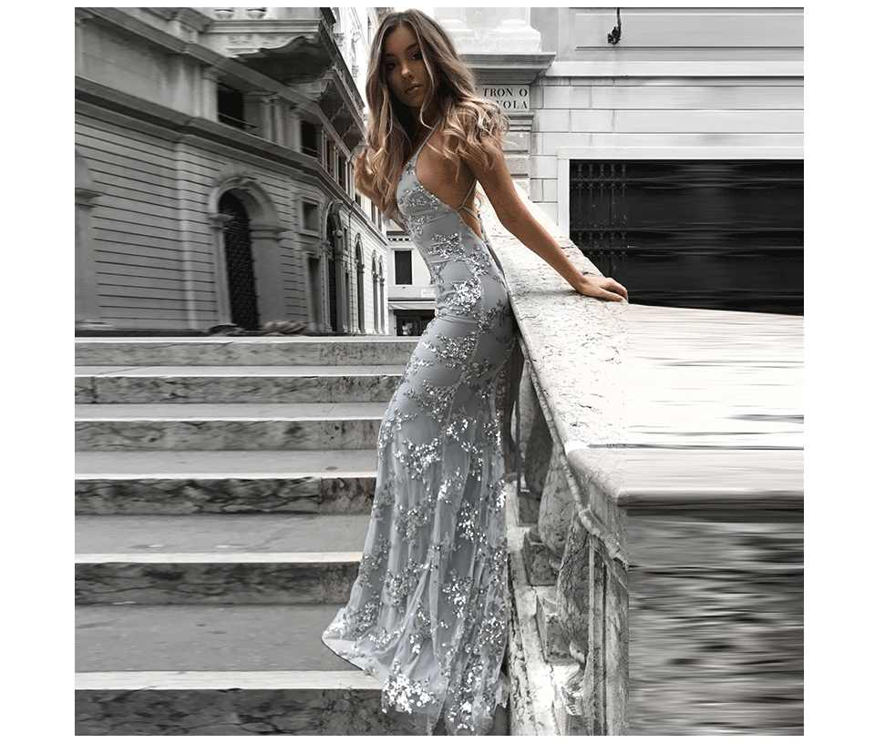 7f8a8e808e26 Lace Up Women Sequin Party Maxi Dress Mesh Vintage 2019 Summer Backlesss  Long Camis Dress Sexy