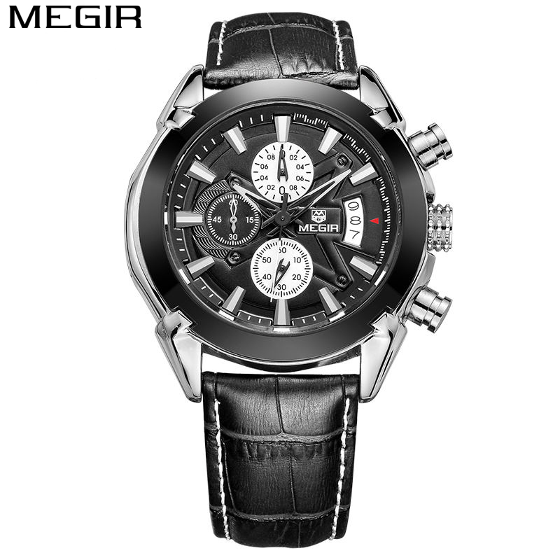 <font><b>MEGIR</b></font> Chronograph Function Mens Watches Genuine Leather Luxury Brand Military Sport Quartz Watch Waterproof Wristwatches Clock image