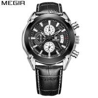Relogio Masculino MEGIR Chronograph Function Mens Watch Genuine Leather Luxury Mens Brand Military Watch Reloj Deportivo