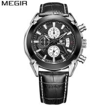 Relogio masculino MEGIR كرونوغراف وظيفة رجل ساعة جلد طبيعي فاخر رجالي ماركة الساعات العسكرية reloj deportivo hombre