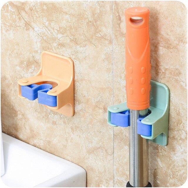 MOM'S HAND 2pcs/lot Home Clip Mop Hooks No Trace Mop Holder Bathroom Rack 4