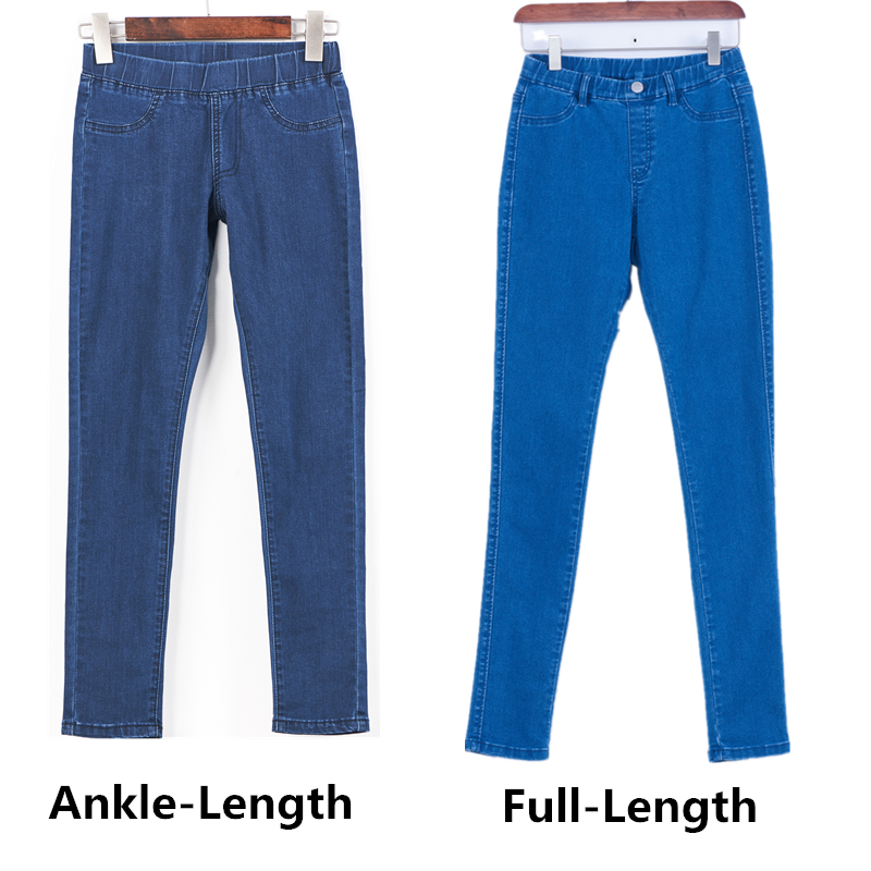 Women Plus Size Casual Slim Stretch Cotton Denim Jeans Blue black 5