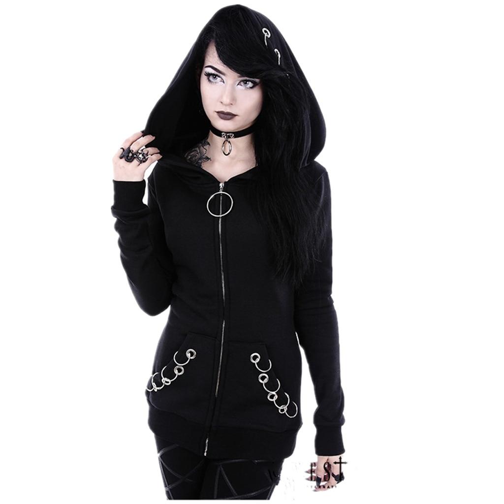Loose Gothic Punk Hooded Solid Jacket Women Long Sleeve Cardigan Black Coat