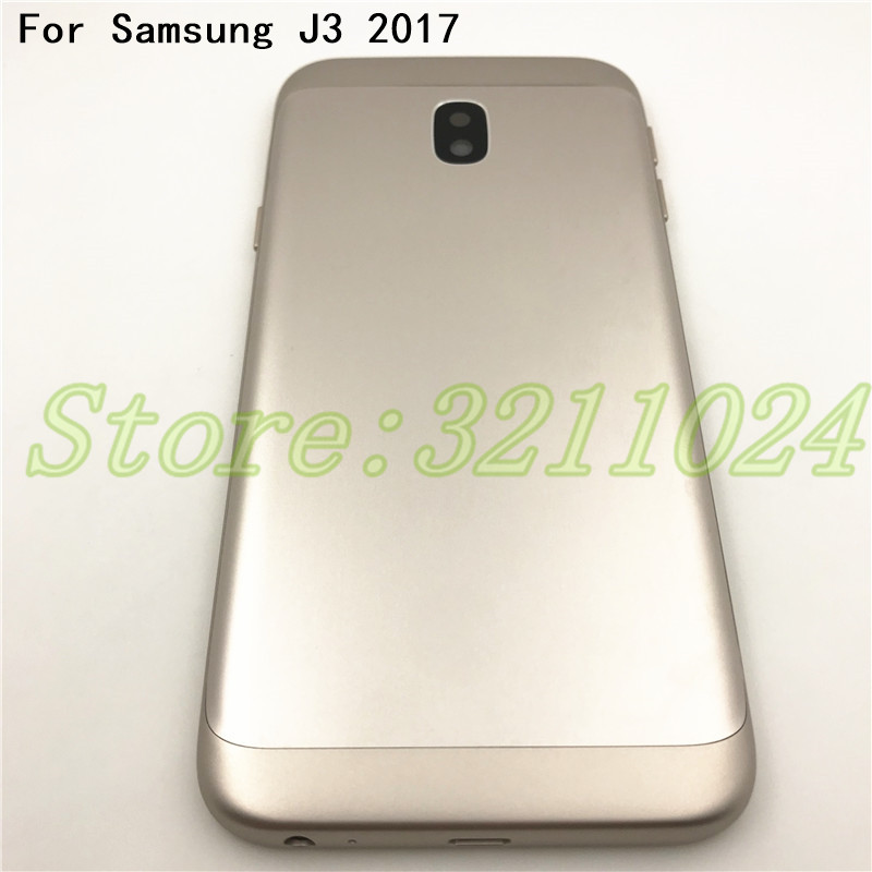New For Samsung Galaxy J3 2017 J330 J330F Metal Back Housing Cover Battery Cover With Camera Glass+Power Volume Button Key+Logo
