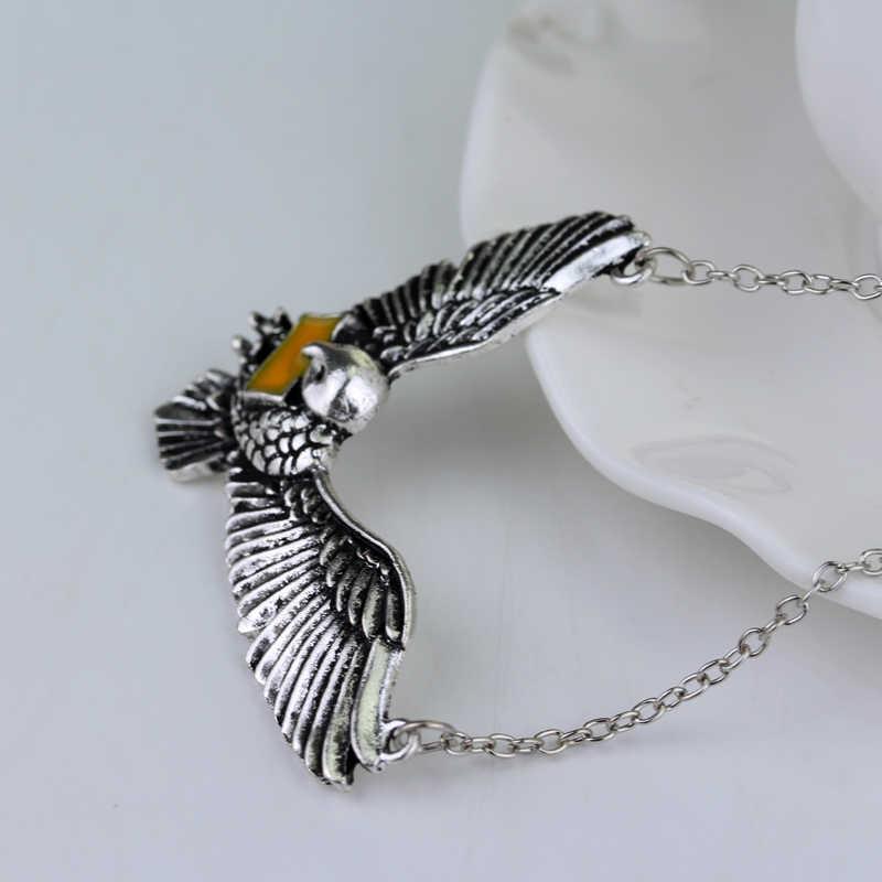 Collar antiguo plata pájaro sobre águila corona diadema colgante para hombres mujeres joyería