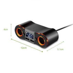 Image 2 - Divisor de encendedor de cigarrillos ZNB02, adaptador de cargador de coche, 3,5a, puertos USB duales, voltímetro de soporte/pantalla LED de temperatura para