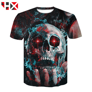 HX Hot Sale Colorful Skull 3D Print Harajuku T Shirt Grim Reaper Skull Casual T Shirt Men/women Streetwear T Shirt Tops HX768 1