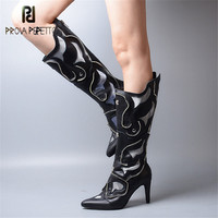 Prova Perfetto New Retro Real Leather Women Boots Pointed Toe Thin High Heels Boots Woman Euramerican Style Black Martin Boots
