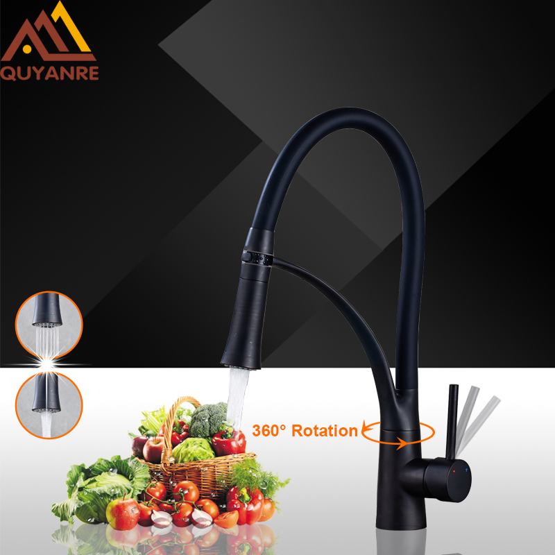 Quyanre Black LED ORB Kitchen Faucet Pull-out Sprayer 360 Rotation Single Handle Mixer Tap Sink Faucet Black Rubber Faucets new pull out sprayer kitchen faucet swivel spout vessel sink mixer tap single handle hole hot and cold
