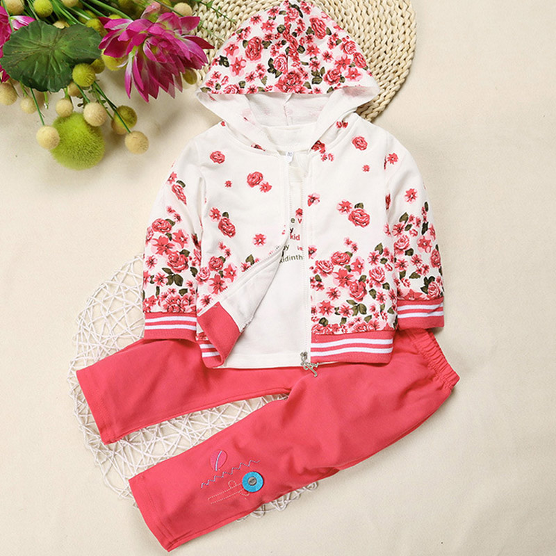 Baby Girls Sets Clothing 3pcs Set Flower Print Hooded Coat T shirt Pants Suits Autumn Spring