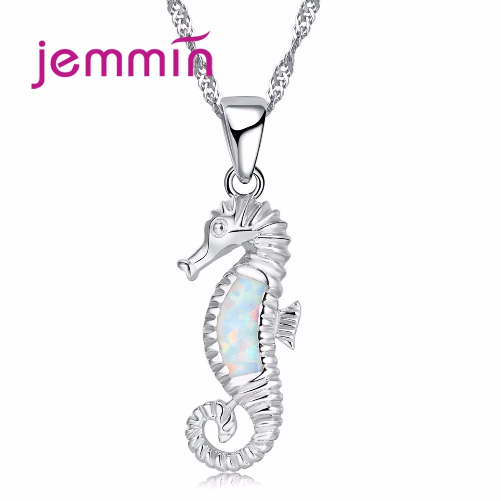 Jemmin Lovely Hippocampus White Fire Opal Pendant Necklaces for Women Fashion 925 Sterling Silver Chain Necklace JewelryJemmin Lovely Hippocampus White Fire Opal Pendant Necklaces for Women Fashion 925 Sterling Silver Chain Necklace Jewelry