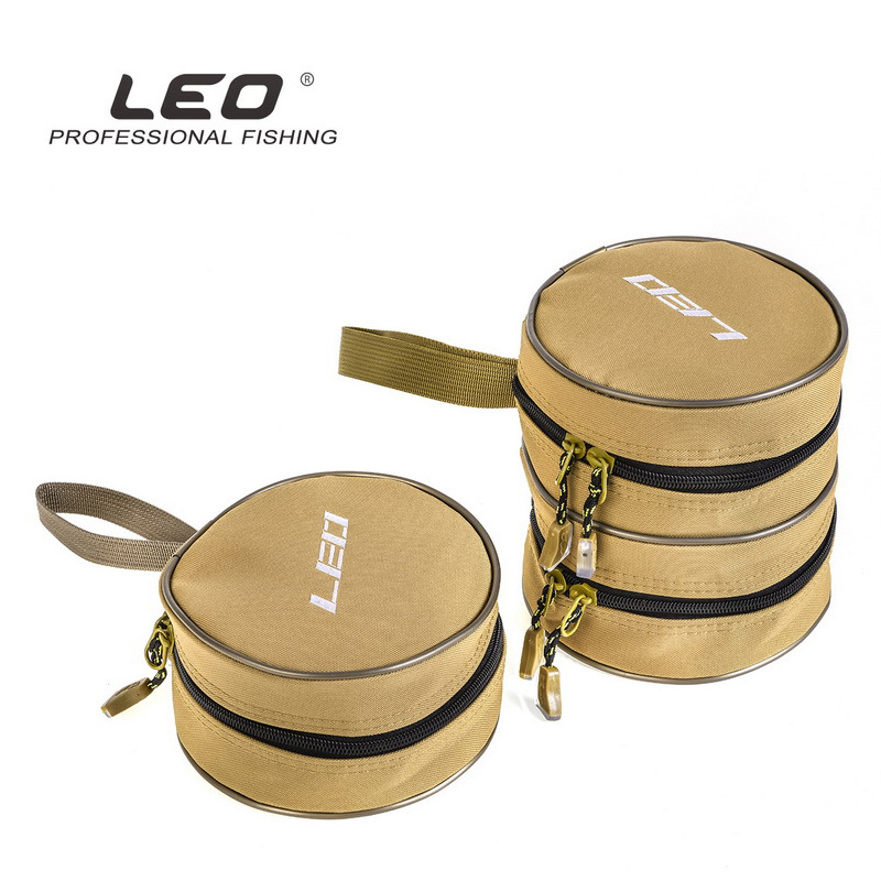 LEO Canvas Round Fishing Reels Bag 28065 Fishing Accessories Single Layer Double Layers Case Lure Bags Khaki Polyester