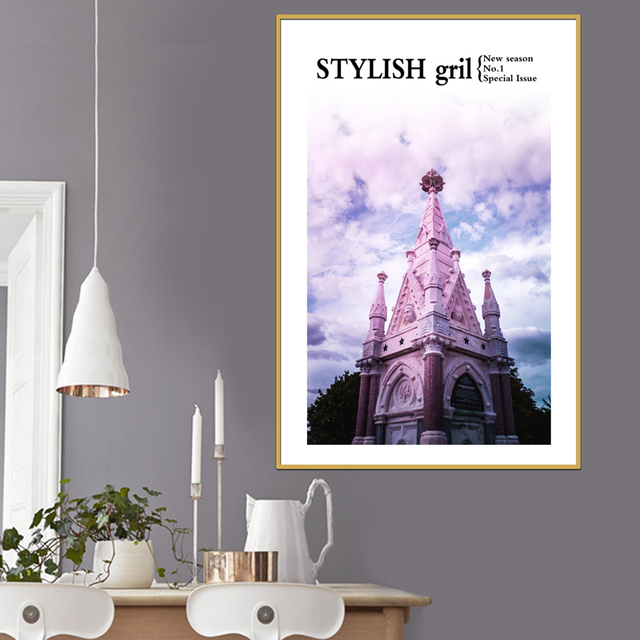 Purple Castle Canvas Art Posters And Prints Abstract Painting Nordic Style Wall Pictures For Living Room