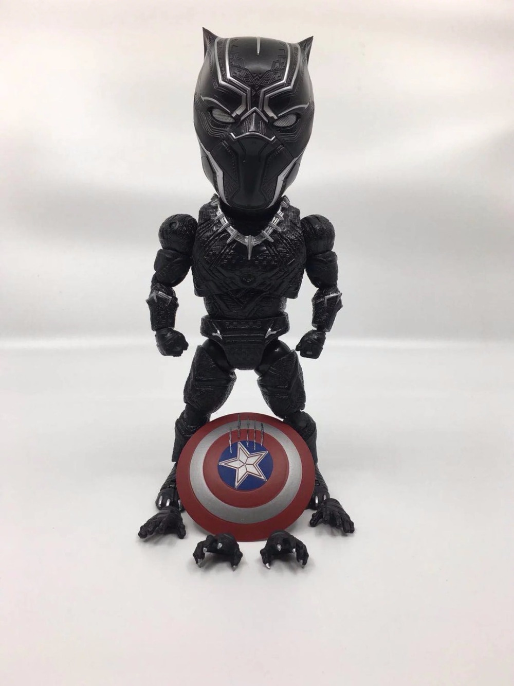 Egg Attack Super Heros Captain America Civil War Black Panther PVC Action Figures Collectible Model Anime Kids Toys Doll 18CM 1 6 scale figure captain america civil war or avengers ii scarlet witch 12 action figure doll collectible model plastic toy