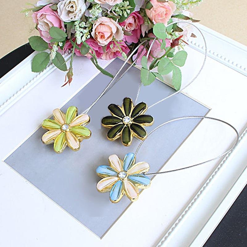 Chrysanthemum1 pcs Chic Pastoral Magnetic Flower Curtain Tiebacks Sheer Curtain Clip