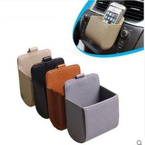 Image 2 - Auto Styling Pu leder Auto Steckdose Air Vent Clip Papierkorb Handyhalter Organizer Auto Sun Glas Halter Aufbewahrungsbox für BMW