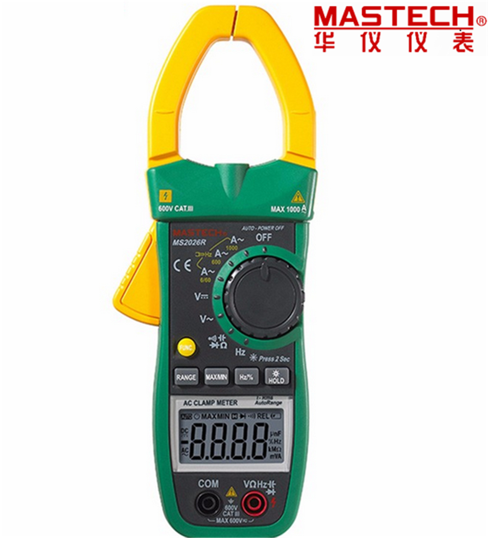 2017 Auto&Manual Range 6000 Counts Digital Clamp Multimeter AC/DC Tester True RMS temperature measurement ADP MASTECH MS2026R 1pcs mastech ms2026r auto