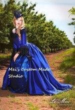 Valentina Gothic Romantic Off Shoulder Fantasy Gothic Victorian Gown victorian ball gown patterns /victorian ball gown blue