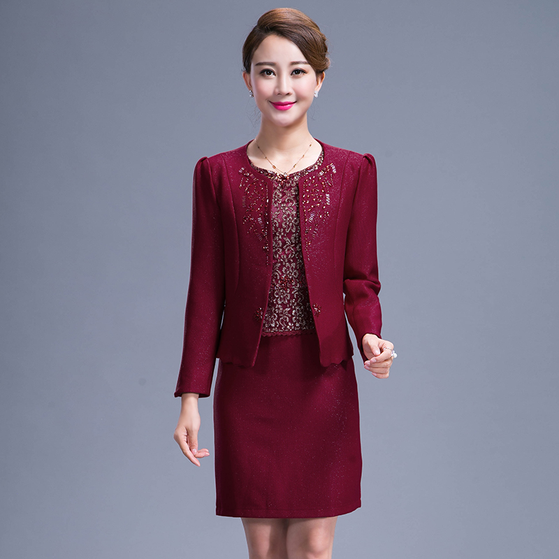 2016 New Middle Aged Mother Dress Dress Suit Heavy Beading Sewing Zipper 2 Pieces Plus Size