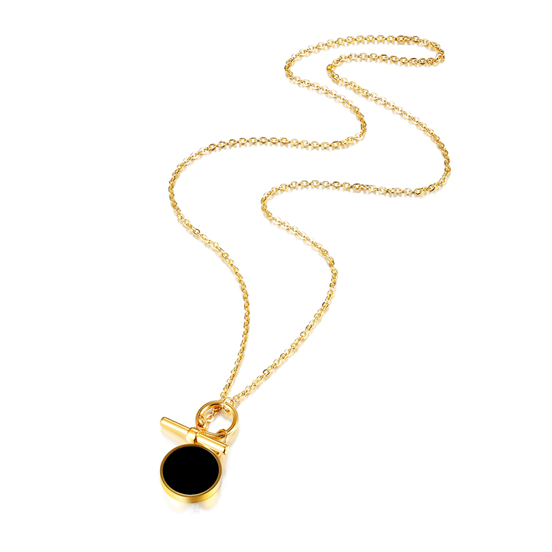 Купить цепочка женская двухсторонняя из титановой стали с черной эмалью