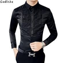 2018 Silk Shirt Mens lace Shirts Vintage Long Sleeve Patchwork Casual Wedding Dress Slim British Style Luxury Club Outfits Retro