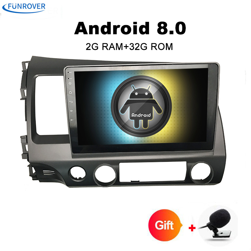 FUNROVER Quad core Android 8.0 2 DIN For honda CIVIC 2006-2011 Car DVD Navigation GPS HD Radio wifi obd2 MP3 playper rds video