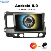 FUNROVER Quad Core Android 8 0 2 DIN For Honda CIVIC 2006 2011 Car DVD Navigation